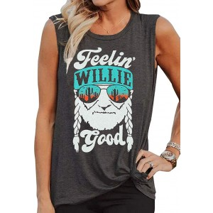 LANMERTREE Willie T Shirt Feelin' Willie Good Women Graphic Tank Tops Country Music Summer Sleeveless Workout tees at  Women's Clothing store