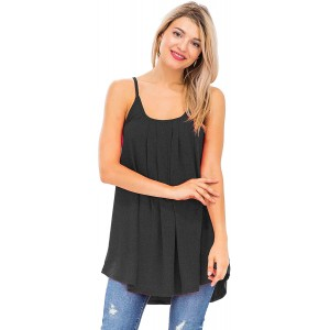 Women's Pleated Spaghetti Adjustable Straps Cami Tops at Women's Clothing store