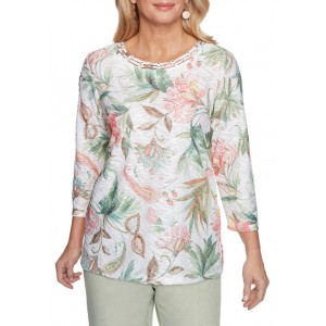 Alfred Dunner Women's Springtime in Paris Floral Textured Top