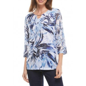 Alfred Dunner Women's Tropical Leaves Top