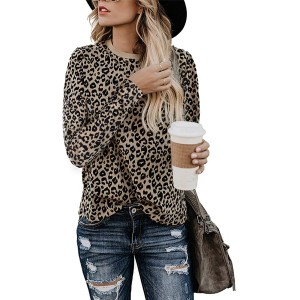 Blooming Jelly Womens Leopard Print Tops Long Sleeve Round Neck Casual T Shirts Tees at Women's Clothing store
