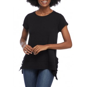 Crown & Ivy™ Women's Short Sleeve Top with High Low Hem and Side Ruffles