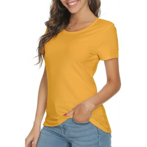 LINDLOOK Women's Casual Short Sleeve Slim Fit Crewneck T Shirt Cotton Tee Tops at  Women's Clothing store