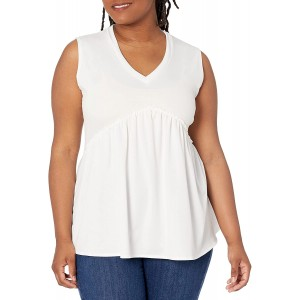 Star Vixen Women's Plus Size Sleeveless Babydoll Top with V Neck Ivory 3X at Women's Clothing store