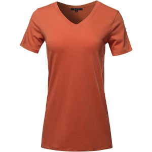 Women's Basic Solid Premium Cotton Short Sleeve V-Neck T Shirt Tee Tops at  Women's Clothing store