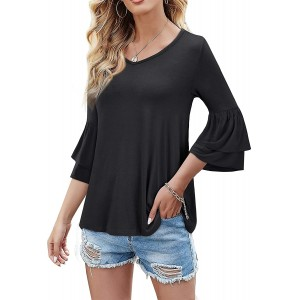 HOMEYEE Women's Elegant Tops Tiered Layer Flounce Sleeves Casual Tunic Tops Tee T056 at  Women's Clothing store