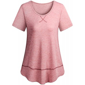 Koscacy Women Activewear Workout Shirts Round Neck Loose Fitting Yoga Tops at Women's Clothing store