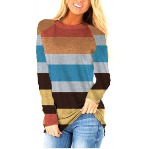 Oritina Womens Autumn Long Sleeve Shirt Striped Loose Fitting Tops Round Neck Casual T-Shirt at  Women's Clothing store