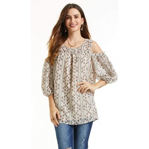 SONJA BETRO Women's Printed Chiffon Cold Shoulder Tunic 101TAUPE Print Small